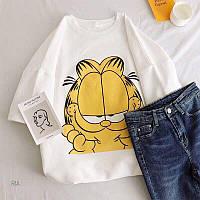 Женская летняя футболка с котом Гарфилдом 77mfu264, фото 1