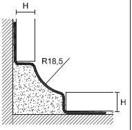 Внутренний уголок GIN/ нержавеющая сталь полированная AISI 304 DIN 1.4301