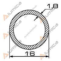 Труба алюминиевая круглая 16х1.8 мм без покрытия ПАС-1366