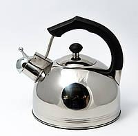 Чайник со свистком из нержавеющей стали Maestro MR-1308 (3.5 л) черный | металлический чайник Маэстро, Маестро