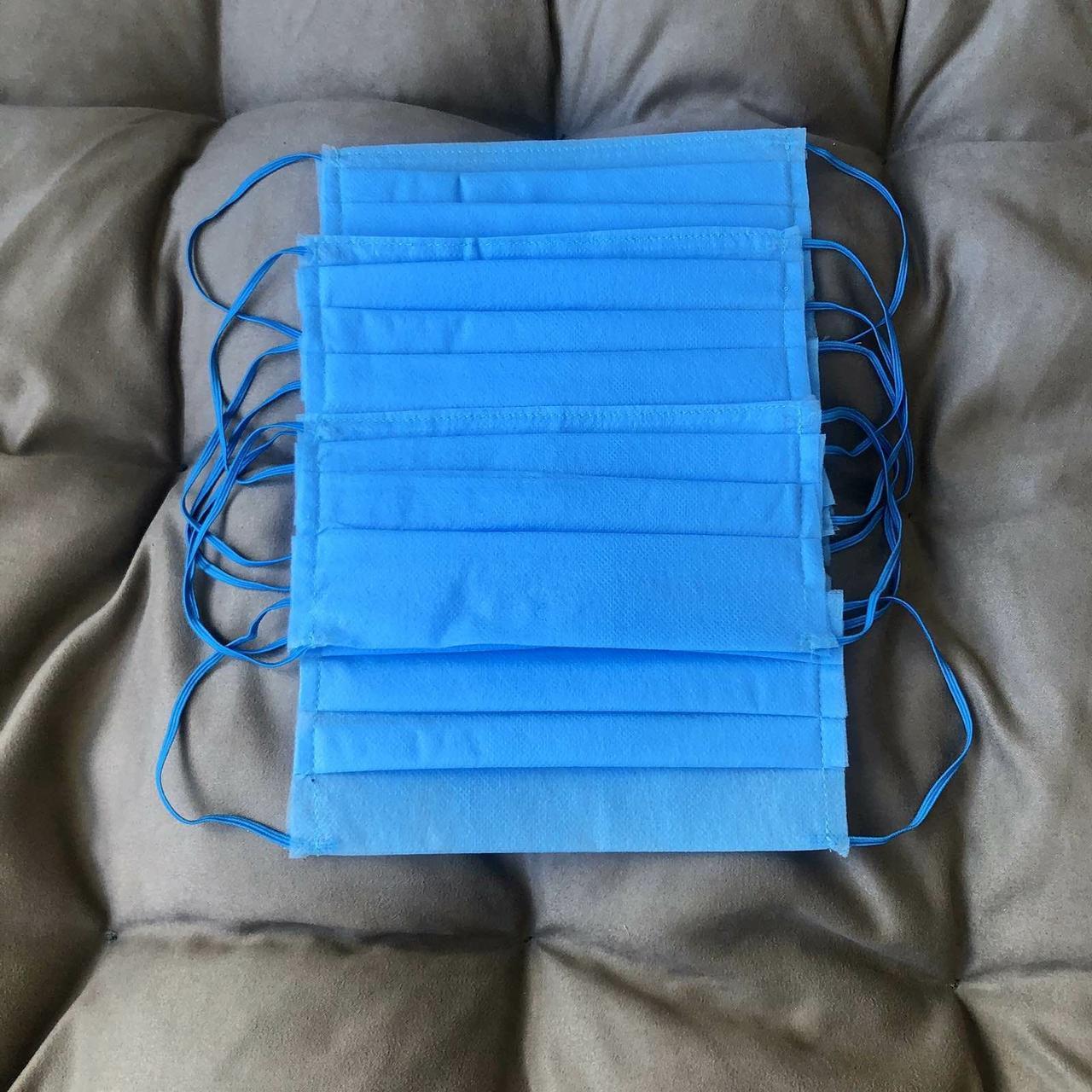 Маски, повязки шитые синие трёхслойные из спанбонда защитные, качественные!