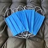 Маски, повязки шитые синие трёхслойные из спанбонда защитные, качественные!, фото 2