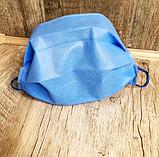 Маски, повязки шитые синие трёхслойные из спанбонда защитные, качественные!, фото 6