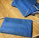 Маски, повязки шитые синие трёхслойные из спанбонда защитные, качественные!, фото 7