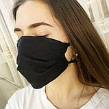 Маска мужская | женская защитная хлопковая гипоаллергенная двухслойная многоразовая, x black от ROYAL PLAY, фото 6