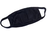 Маска мужская | женская защитная хлопковая гипоаллергенная двухслойная многоразовая, x black черная, фото 4