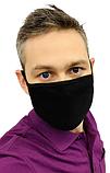 Маска мужская | женская защитная хлопковая гипоаллергенная двухслойная многоразовая, x black черная, фото 7