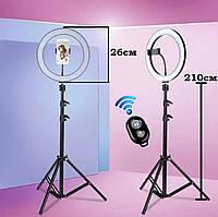 Штатив 210 см кольцевая светодиодная LED лампа 26 см фото освещение