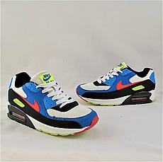 Кроссовки женские синие в стиле Nike Air Max. Кроссовки женские из эко кожи. Кеды женские. Мокасины женские, фото 3
