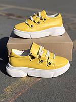 Женские стильные кожаные кроссовки Armando model- A1, желтые