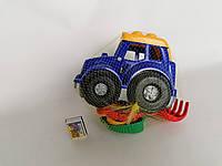 Машинка. Игрушка пластмассовая. Трактор + грабли+ формочки для песка