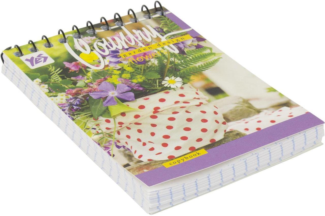 Блокнот пруж. верх. A7 80арк. кліт. карт. Country garden №681252/Yes/(6)