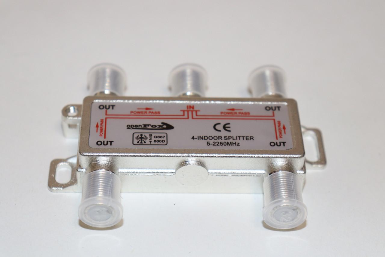 Splitter 4-WAY Germany 5-2400MHZ, з проходом живлення, корпус метал