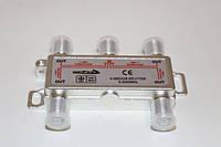 Splitter 4-WAY Germany 5-2400MHZ, з проходом живлення, корпус метал, фото 1