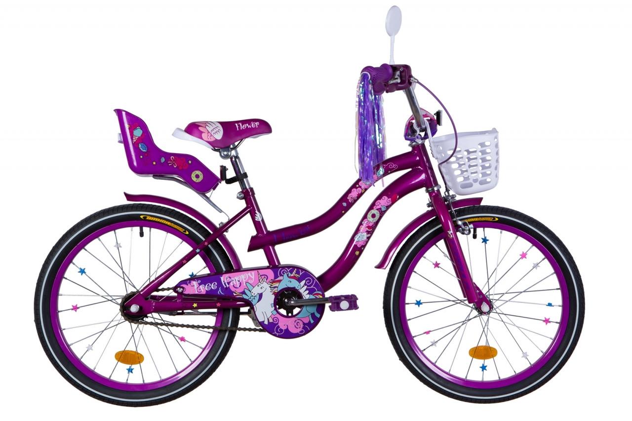 """Велосипед 20"""" Formula FLOWER PREMIUM 2020 (розовый с голубым)"""