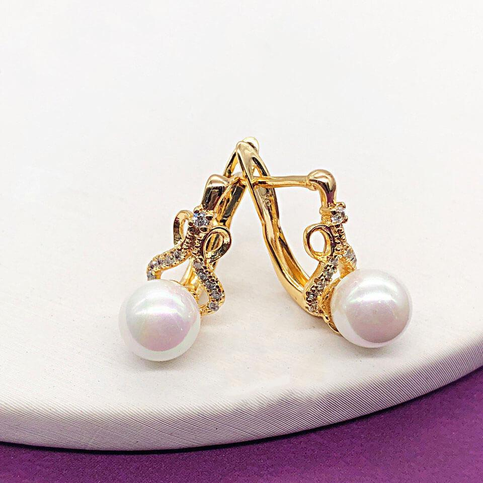 Серьги Xuping Jewelry Жасмин медицинское золото, позолота 18К английский замок А/В 5186