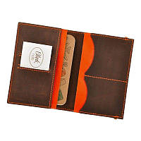 Кожаная обложка для паспорта Everiot Bnote 2.0 орех-апельсин + блокнотик BN-OP-2-o-a