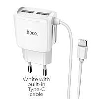 Зарядное устройство Hoco C59A Mega joy c Type-C (2USB) (EU)\ white, фото 1
