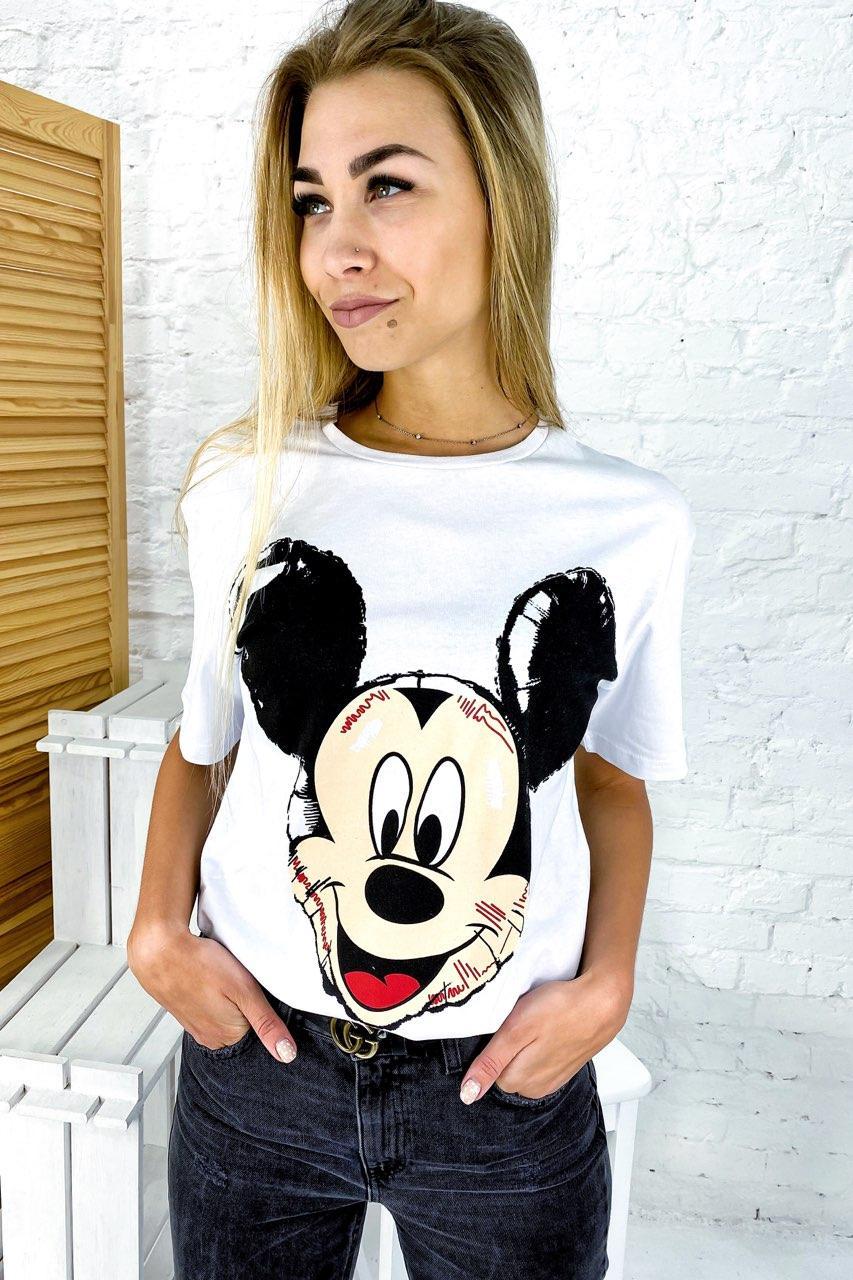 Молодежная футболка с Микки фасона oversize LUREX - белый цвет, S (есть размеры)