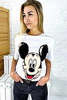 Молодежная футболка с Микки фасона oversize LUREX - белый цвет, S (есть размеры), фото 1