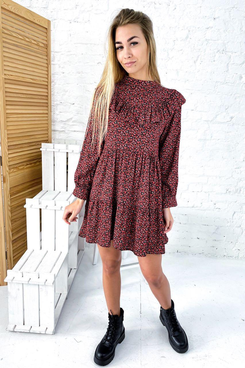 Платье с рюшами в мелкий цветочный принт Crep - красный цвет, L (есть размеры)