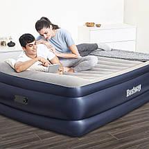 Надувна велюр ліжко 67690 Bestway 203-152-61см, з вбудованим електронасосом, фото 2