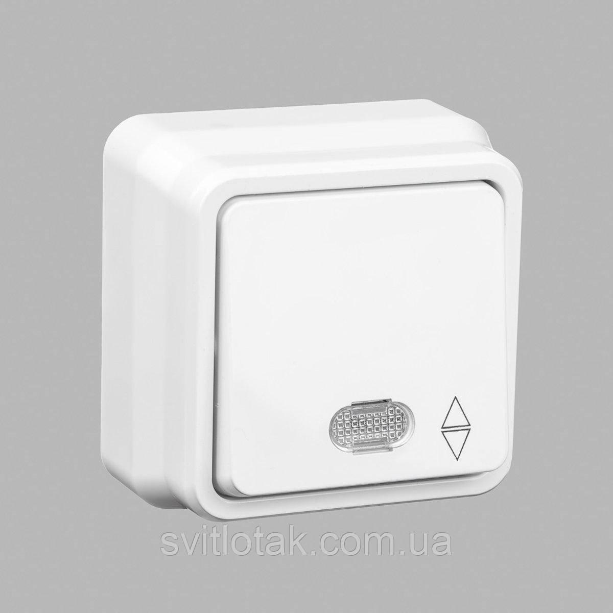 Misya выключатель проходной 1-ый с подсветкой наружный белый