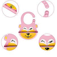 Слюнявчик силиконовый Zupo Crafts розовый