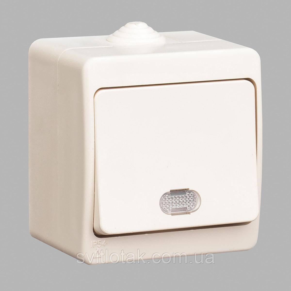 Nemli выключатель 1-ый с подсветкой влагозащищенный кремовый