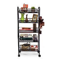 4/5-уровневая корзина с подставкой для кухни Ванная комната Тележка для хранения продуктов на колесиках с металлическими роликами и 4-мя