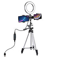 PULUZ PKT3034 6.2 дюймов USB Видео Кольцо Свет с Штатив Light Stand Двойной телефонный зажим для Tik Tok Youtube Live Streaming-1TopShop