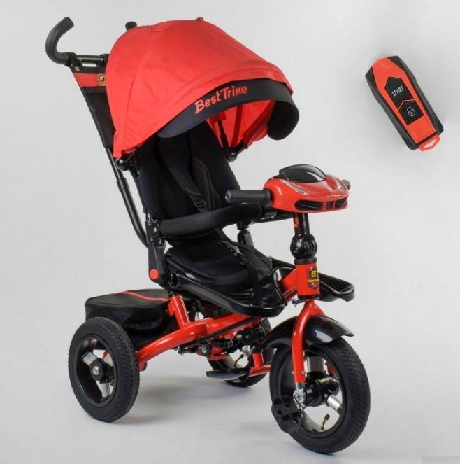 Велосипед трехколесный детский с родительской ручкой капюшоном надувные колеса Best Trike 6088F-07-101