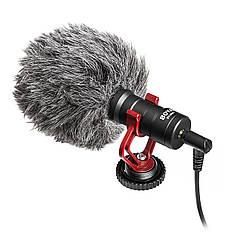 Кардиодный направленный микрофон BOYA BY-MM1 профессиональный для видеокамер ветрозащита с держателем