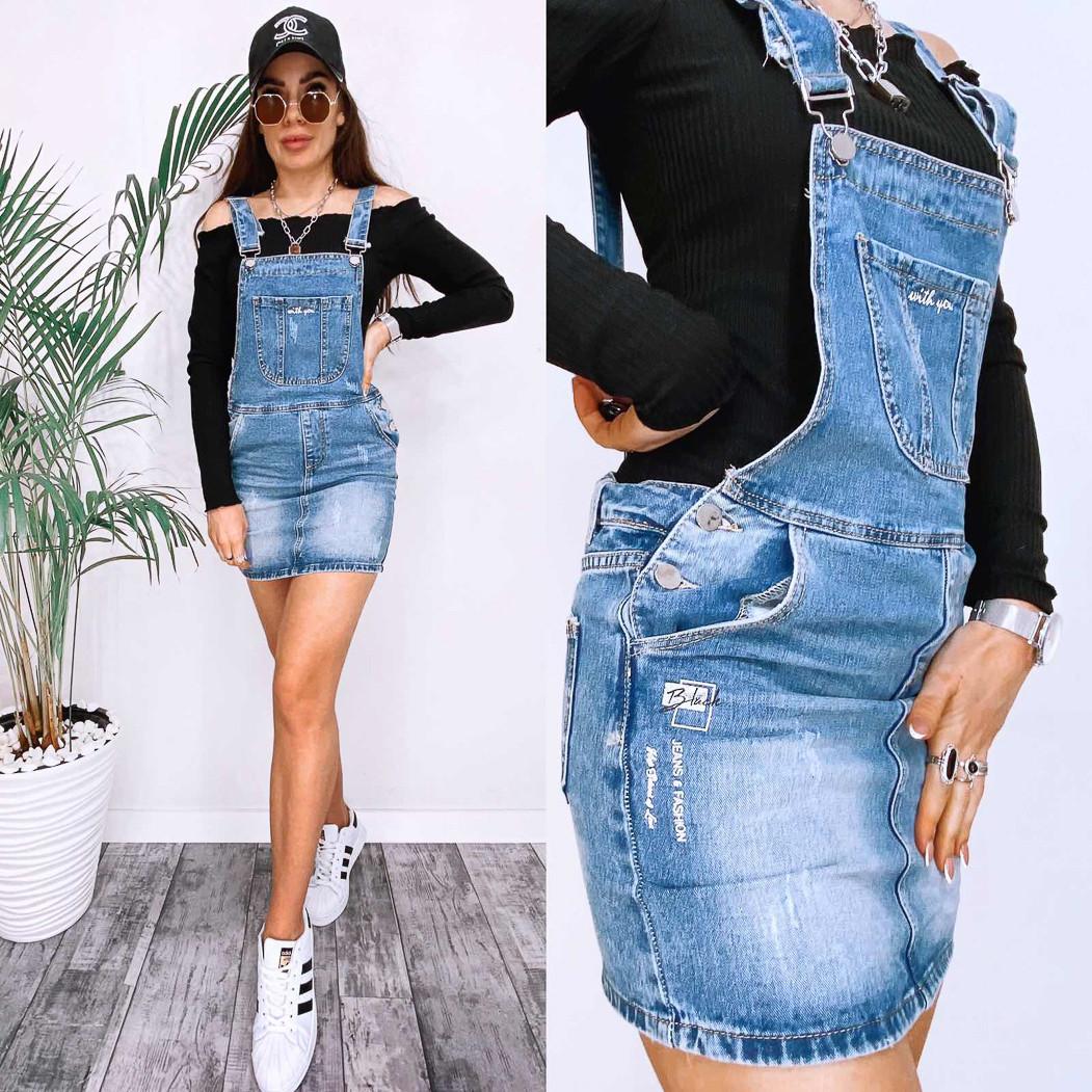 3677 New Jeans сарафан джинсовый с царапками синий весенний коттоновый (25-30, 6 ед.)