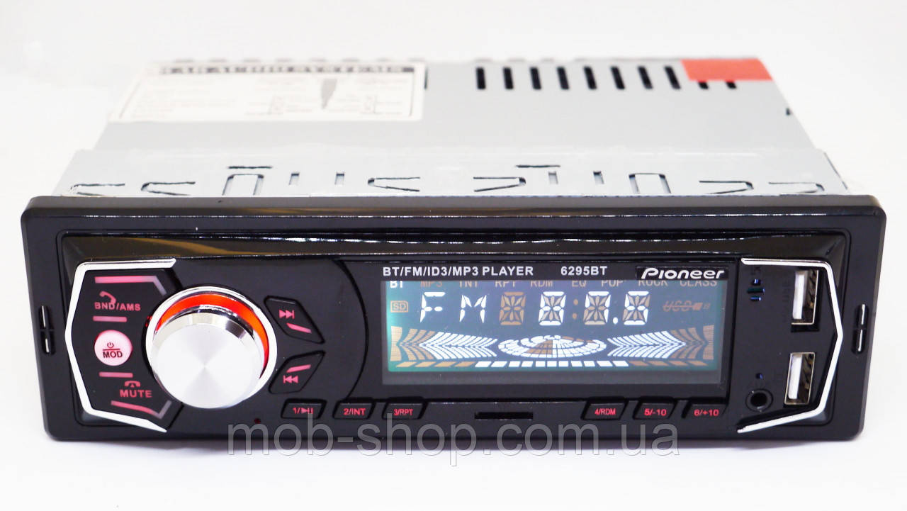 1 din Автомагнитола Pioneer 6295BT Bluetooth+2xUSB (1 дин магнитола пионер с 2 юсб для зарядки)