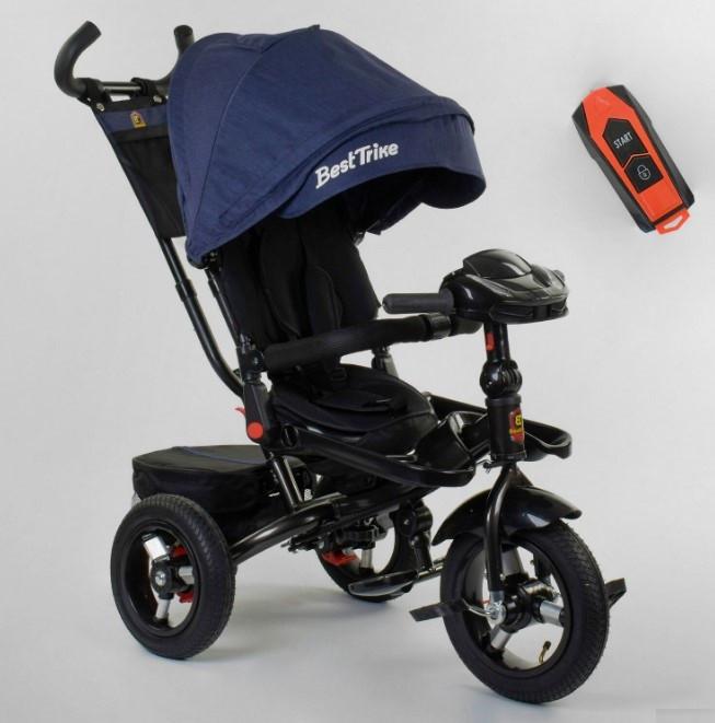Трехколесный велосипед с ручкой козырьком фарой поворотное сиденье надувные колеса Best Trike 6088F-03-108