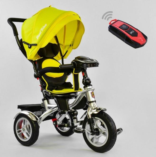 Велосипед трехколесный детский с родительской ручкой капюшоном надувные колеса BestTrike 5890-7019