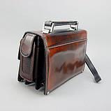 Коричнева сумка-барсетка вінтажна Desisan 1081-0 шкіряна чоловіча класична з натуральної шкіри, фото 3