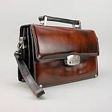 Коричнева сумка-барсетка вінтажна Desisan 1081-0 шкіряна чоловіча класична з натуральної шкіри, фото 2