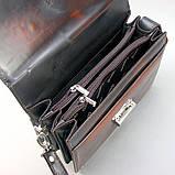 Коричнева сумка-барсетка вінтажна Desisan 1081-0 шкіряна чоловіча класична з натуральної шкіри, фото 4