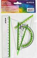 """Набір геометричний """"Kite"""" №K17-280-09 (лінійка 15см,транспортир)(24)(96)"""