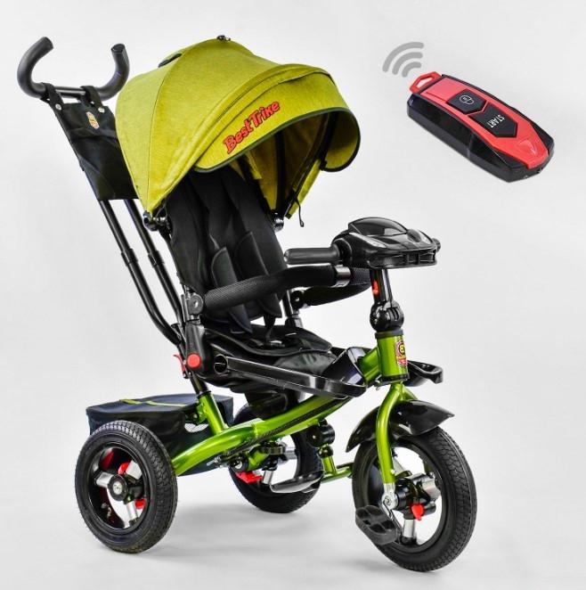 Велосипед трехколесный детский с родительской ручкой капюшоном надувные колеса BestTrike 6088F-311