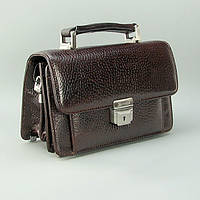 Коричневая кожаная мужская сумка Desisan 038-019 барсетка маленькая классическая из натуральной кожи, фото 1