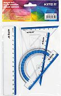 """Набір геометричний """"Kite"""" №K17-280-07 (лінійка 15см,транспортир)(24)(96)"""