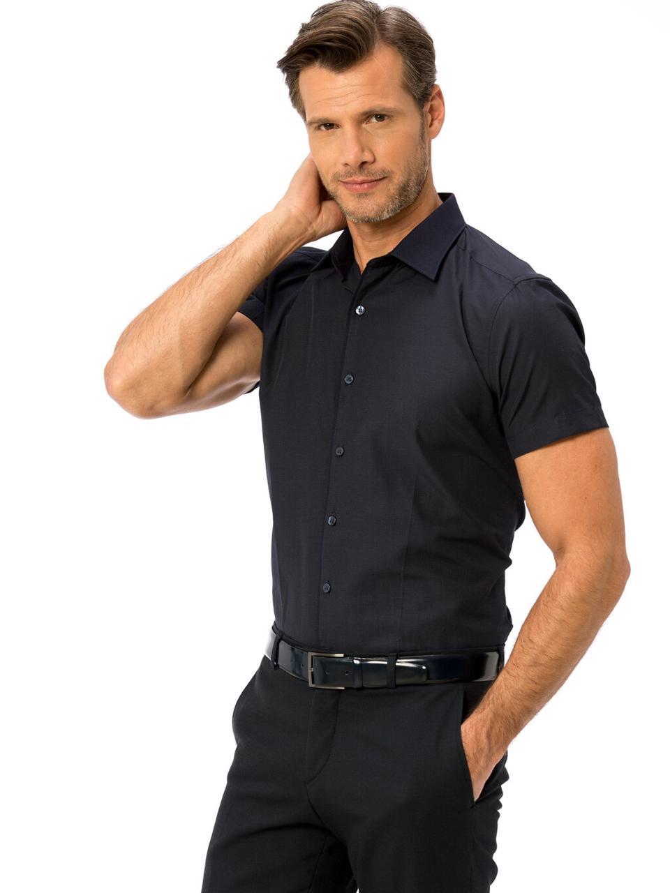 Темно-синяя мужская рубашка LC Waikiki / ЛС Вайкики с коротким рукавом