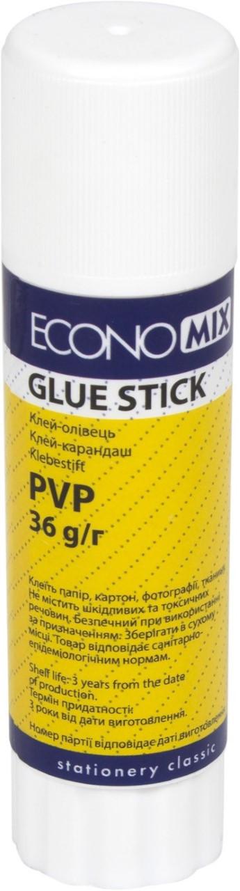 """Клей-олівець """"Economix"""" №Е41221 36гр перманент.,основа,біл.,PVP(12)(384)"""