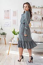 Платье весенне женское классическое с бантиком универсальный размер розовые цветы на оливковом, фото 2
