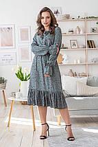 Платье весенне женское классическое с бантиком универсальный размер розовые цветы на оливковом, фото 3