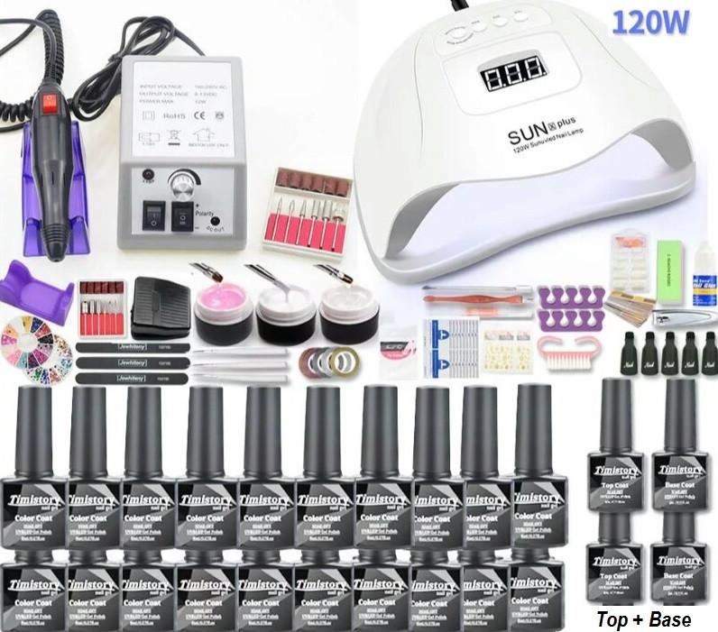 Стартовый набор для маникюра и наращивания с лампой Sun X Pro 72W и фрезером
