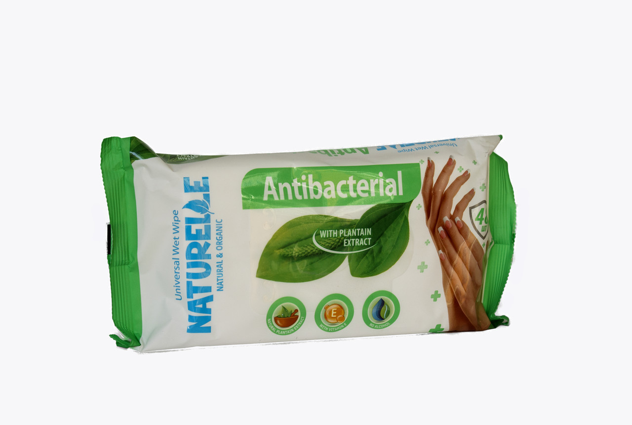 N Вологі серветки 48шт  antibacterial подорожник NATURELLE*4